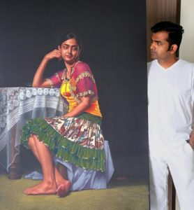 Shashikant Dhotre with Painting